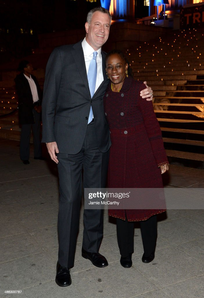 New York City Mayor Bill de Blasio (L) and wife Chirlane De Blasio attend the Vanity Fair Party during the 2014 Tribeca Film Festival at the State Supreme Courthouse on April 23, 2014 in New York City.