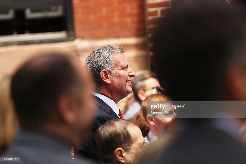 New York City Mayor <a gi-track='captionPersonalityLinkClicked' href=/galleries/search?phrase=Bill+de+Blasio&family=editorial&specificpeople=6224514 ng-click='$event.stopPropagation()'>Bill de Blasio</a> attends a dedication ceremony officially designating the Stonewall Inn as a national monument to gay rights on June 27, 2016 in New York City. Elected and federal officials joined members of the LGBT community at the dedication ceremony of the historic bar that has played a pivotal role in the battle for the rights of people in the gay community. Valerie Jarrett, Senior Advisor to President Barack Obama, Director of the National Park Service Jonathan Jarvis, Mayor <a gi-track='captionPersonalityLinkClicked' href=/galleries/search?phrase=Bill+de+Blasio&family=editorial&specificpeople=6224514 ng-click='$event.stopPropagation()'>Bill de Blasio</a> and others were all on hand for the afternoon ceremony.
