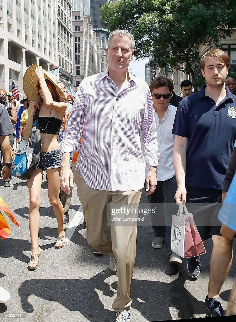 New York City Mayor <a gi-track='captionPersonalityLinkClicked' href=/galleries/search?phrase=Bill+de+Blasio&family=editorial&specificpeople=6224514 ng-click='$event.stopPropagation()'>Bill de Blasio</a> attends New York City Pride 2016 March at Pier 26 on June 26, 2016 in New York City.