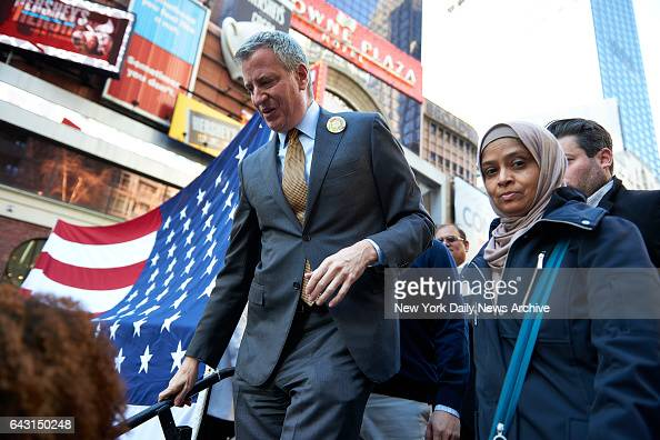 New York City Mayor Bill de Blasio delivered a speech during a 'Today I Am A Muslim Too' rally at Times Square on Sunday February 19 2017 in...