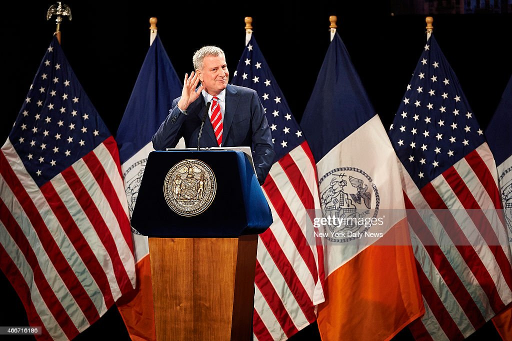 New York City Mayor <a gi-track='captionPersonalityLinkClicked' href=/galleries/search?phrase=Bill+de+Blasio&family=editorial&specificpeople=6224514 ng-click='$event.stopPropagation()'>Bill de Blasio</a> delivers his State of the City speech at Baruch College on Monday, Feb. 2, 2015 in New York, N.Y.