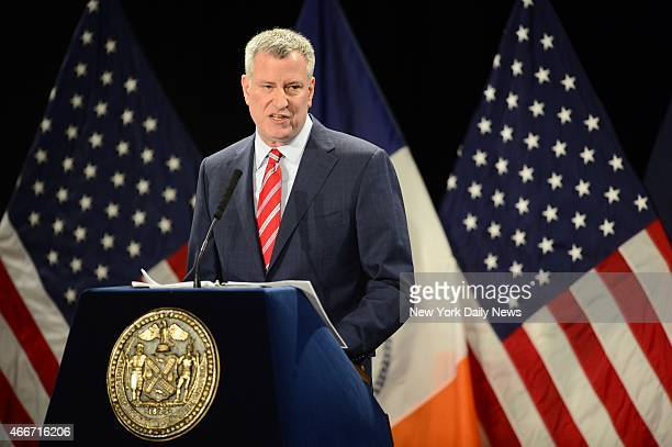 New York City Mayor Bill de Blasio delivers tbe state of the city speech at Baruch College on Tuesday Feb 3 2015 in New York NY
