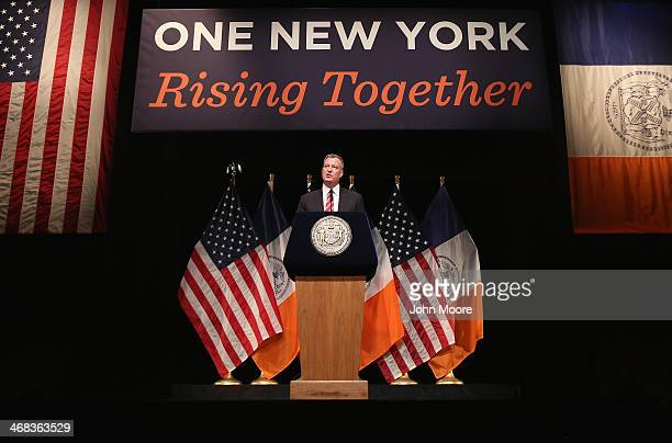 New York City Mayor Bill de Blasio gives the State of the City address at La Guardia Community College on February 10 2014 in the Long Island City...