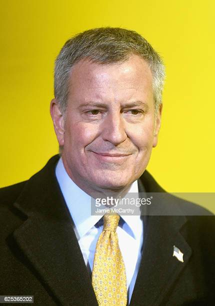 New York City Mayor Bill de Blasio holds a press conference during the 90th Anniversary Macy's Thanksgiving Day Parade Inflation Eve on November 23...