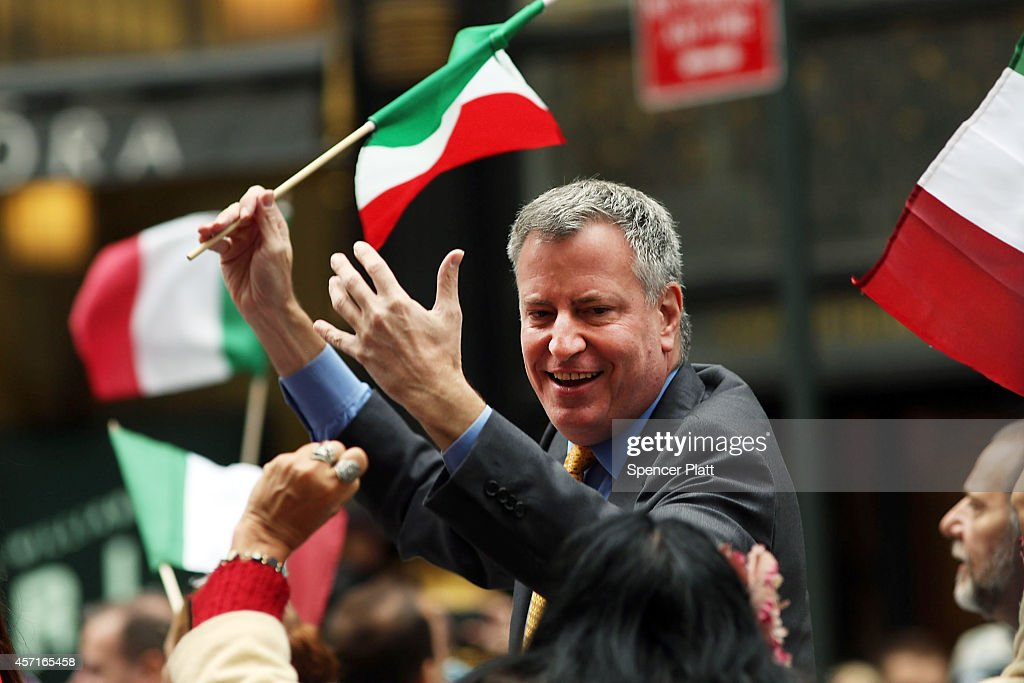 New York City Mayor <a gi-track='captionPersonalityLinkClicked' href=/galleries/search?phrase=Bill+de+Blasio&family=editorial&specificpeople=6224514 ng-click='$event.stopPropagation()'>Bill de Blasio</a> marches in the annual Columbus Day parade on October 13, 2014 in New York City. Organized by the Columbus Citizens Foundation, the parade is billed as the world's largest celebration of Italian-American heritage and culture and has been run since 1929. The parade runs from 44th Street to 72nd Street and is also used as a showcase for local politicians.