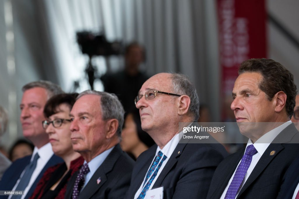 New York City Mayor Bill de Blasio; Martha Pollack, president of Cornell University; former New York City Mayor Michael Bloomberg; Peretz Lavie, president of Technion-Israel Institute of Technology; and New York Gov. Andrew Cuomo attend a dedication ceremony to mark the opening of the new campus of Cornell Tech on Roosevelt Island, September 13, 2017 in New York City. Seven years ago, former New York City Mayor Michael Bloomberg created a competition that invited top universities to open an applied-science campus in New York City. Cornell Tech, an engineering and science campus of Cornell University, officially opened its doors on Wednesday.