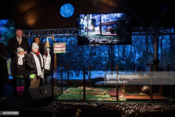 New York City Mayor Bill de Blasio Public Advocate Letitia James and students from Public School 29 watch Staten Island Chuck a groundhog who...