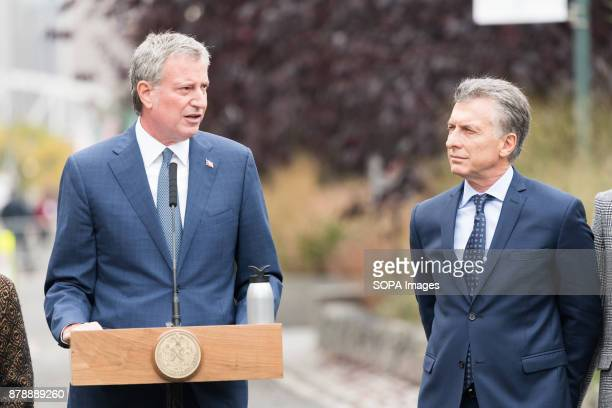 New York City Mayor Bill de Blasio speaking for the tribute ceremony near President Mauricio Macri of Argentina at the site of the October 31 truck...