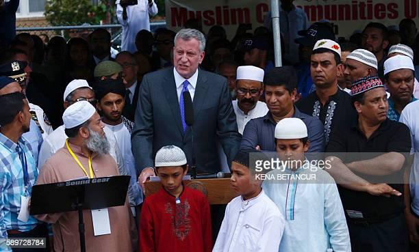 New York City Mayor Bill De Blasio speaks as community members gather during funeral prayers for Imam Maulama Akonjee and friend Thara Uddin at Grant...