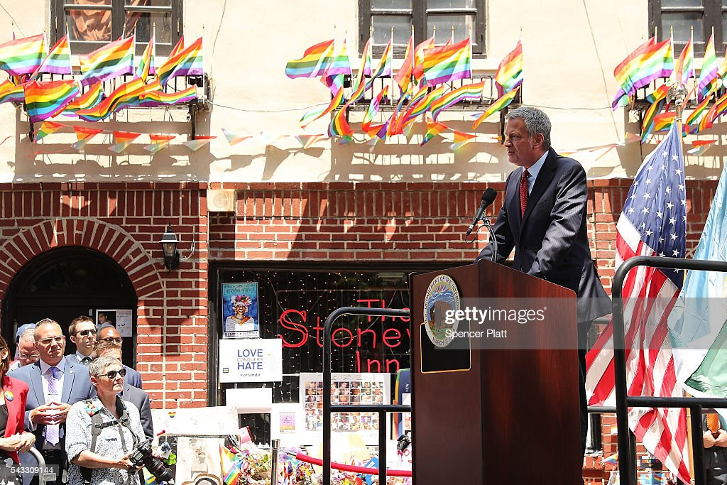 New York City Mayor <a gi-track='captionPersonalityLinkClicked' href=/galleries/search?phrase=Bill+de+Blasio&family=editorial&specificpeople=6224514 ng-click='$event.stopPropagation()'>Bill de Blasio</a> speaks at a dedication ceremony officially designating the Stonewall Inn as a national monument to gay rights on June 27, 2016 in New York City. Elected and federal officials joined members of the LGBT community at the dedication ceremony of the historic bar that has played a pivotal role in the battle for the rights of people in the gay community. Valerie Jarrett, Senior Advisor to President Barack Obama, Director of the National Park Service Jonathan Jarvis, Mayor <a gi-track='captionPersonalityLinkClicked' href=/galleries/search?phrase=Bill+de+Blasio&family=editorial&specificpeople=6224514 ng-click='$event.stopPropagation()'>Bill de Blasio</a> and others were all on hand for the afternoon ceremony.