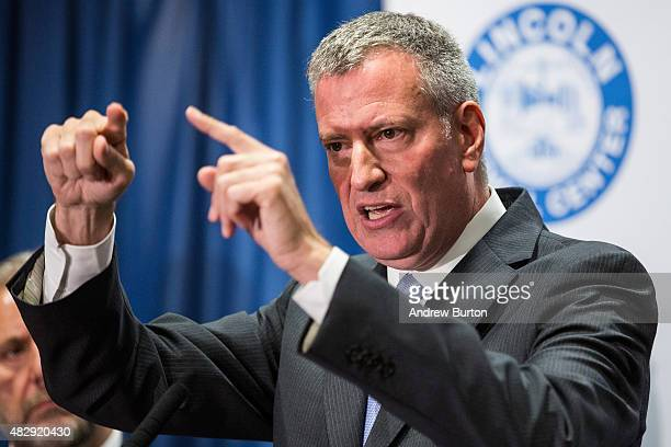New York City Mayor Bill de Blasio speaks at a press conference to address the Legionnaire's disease outbreak in the city at Lincoln Hospital on...
