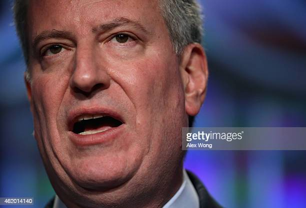 New York City Mayor Bill de Blasio speaks during a session of the 83rd Winter Meeting of the United States Conference of Mayors January 23 2015 in...