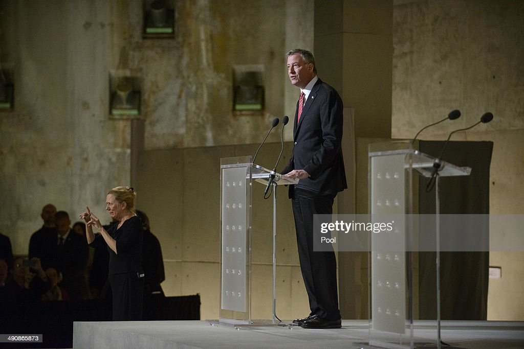 New York City Mayor Bill de Blasio speaks during the opening ceremony for the National September 11 Memorial Museum at ground zero May 15, 2014 in New York City. The museum spans seven stories, mostly underground, and contains artifacts from the attack on the World Trade Center Towers on September 11, 2001 that include the 80 ft high tridents, the so-called 'Ground Zero Cross,' the destroyed remains of Company 21's New York Fire Department Engine as well as smaller items such as letter that fell from a hijacked plane and posters of missing loved ones projected onto the wall of the museum. The museum will open to the public on May 21.