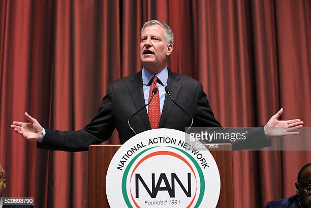 New York City Mayor Bill de Blasio speaks during the opening of the NAN 25th Anniversary National Convention at New York Sheraton Hotel Tower on...