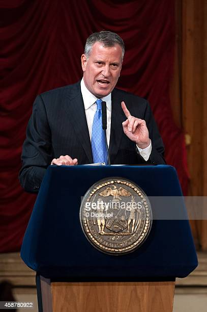 New York City mayor Bill de Blasio speaks onstage during the 'Made In NY' Awards Ceremony at Weylin B Seymour's on November 10 2014 in Brooklyn New...