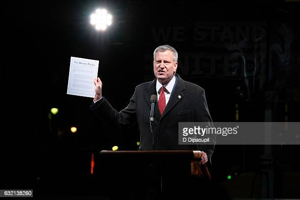New York City mayor Bill de Blasio speaks onstage during the We Stand United NYC Rally outside Trump International Hotel Tower on January 19 2017 in...
