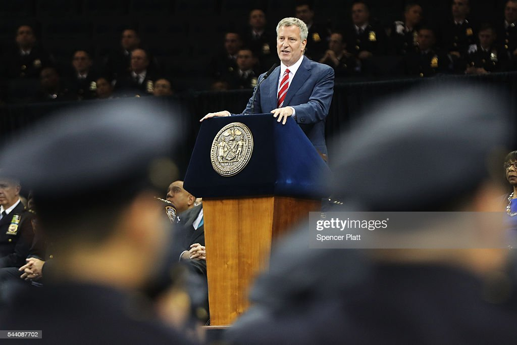 New York City Mayor Bill de Blasio speaks to new members of New York City's police department's graduating class during a swearing in ceremony at Madison Square Garden on July 1, 2016 in New York City. The New York City Police Department's (NYPD) current uniformed strength is approximately 34,500.