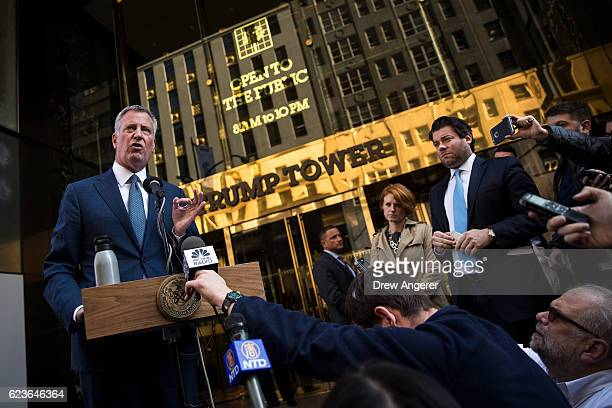 New York City mayor Bill de Blasio speaks to the press in front of Trump Tower after his meeting with presidentelect Donald Trump November 16 2016 in...