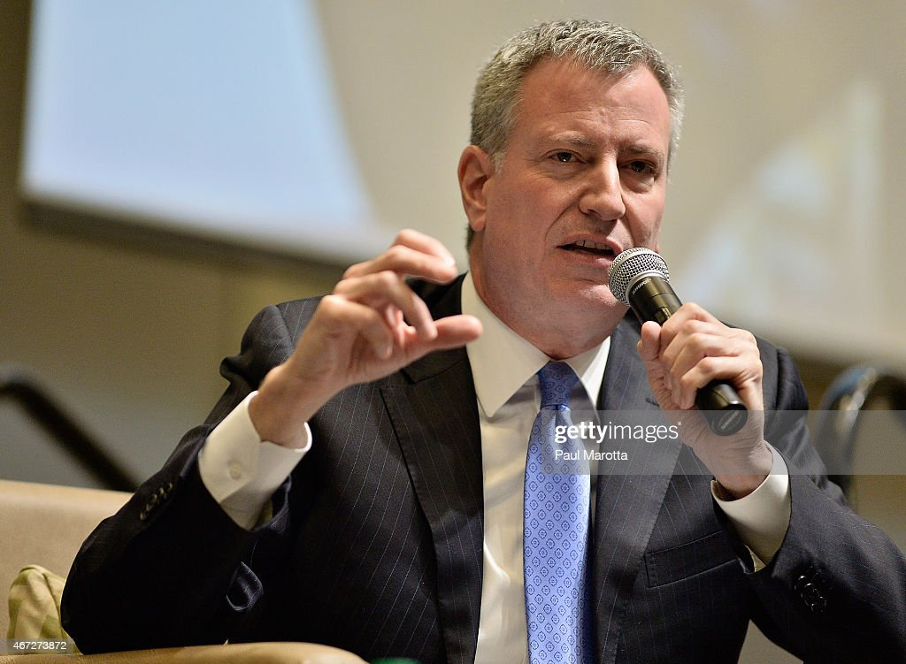 New York City Mayor Bill DiBlasio speaks at Municipal Strategies for Financial Empowerment, a public forum hosted by Boston Mayor Martin J. Walsh at UMass Campus Center on March 22, 2015 in Boston, Massachusetts.