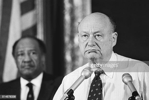 New York City Mayor Ed Koch addresses members of the press commenting on the suicide of longtime friend and former Queens borough president Donald...