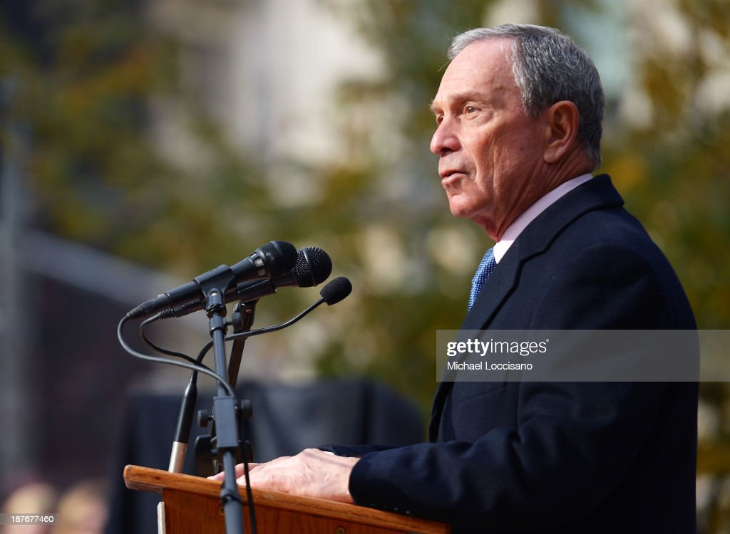 New York City Mayor <a gi-track='captionPersonalityLinkClicked' href=/galleries/search?phrase=Michael+Bloomberg&family=editorial&specificpeople=171685 ng-click='$event.stopPropagation()'>Michael Bloomberg</a> addresses the audience during the 94th annual New York City Veterans Day Parade on 5th Avenue on November 11, 2013 in New York City. The parade is the largest of its kind in the country and this year is especially dedicated to women serving in the armed forces.