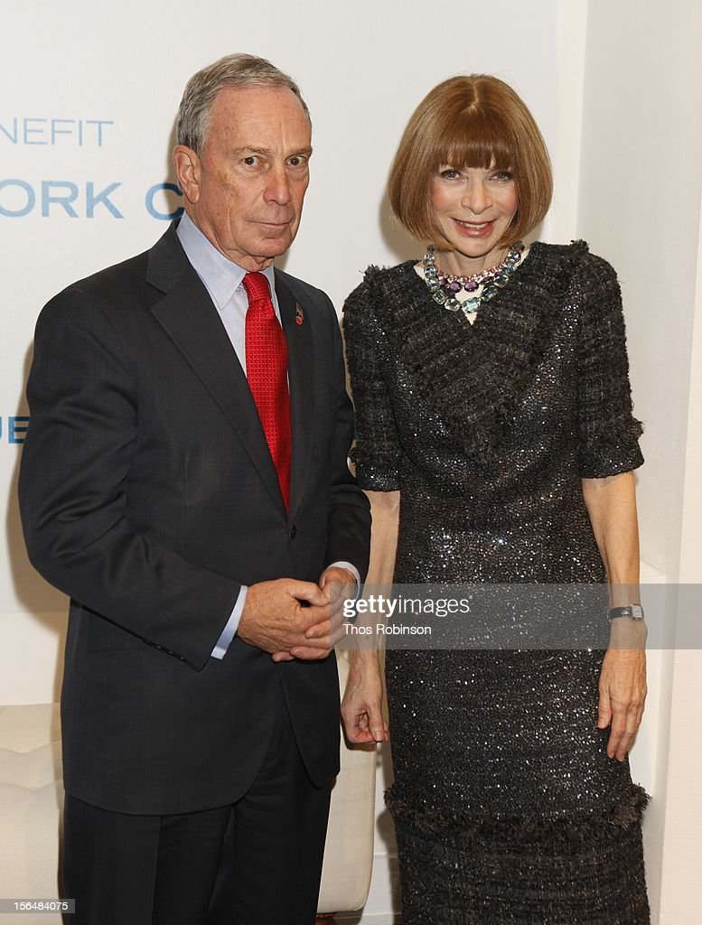 New York City mayor <a gi-track='captionPersonalityLinkClicked' href=/galleries/search?phrase=Michael+Bloomberg&family=editorial&specificpeople=171685 ng-click='$event.stopPropagation()'>Michael Bloomberg</a> and <a gi-track='captionPersonalityLinkClicked' href=/galleries/search?phrase=Anna+Wintour&family=editorial&specificpeople=202210 ng-click='$event.stopPropagation()'>Anna Wintour</a>, editor in chief of Vogue attend Fashion For Sandy Relief at Metropolitan Pavilion on November 15, 2012 in New York City.