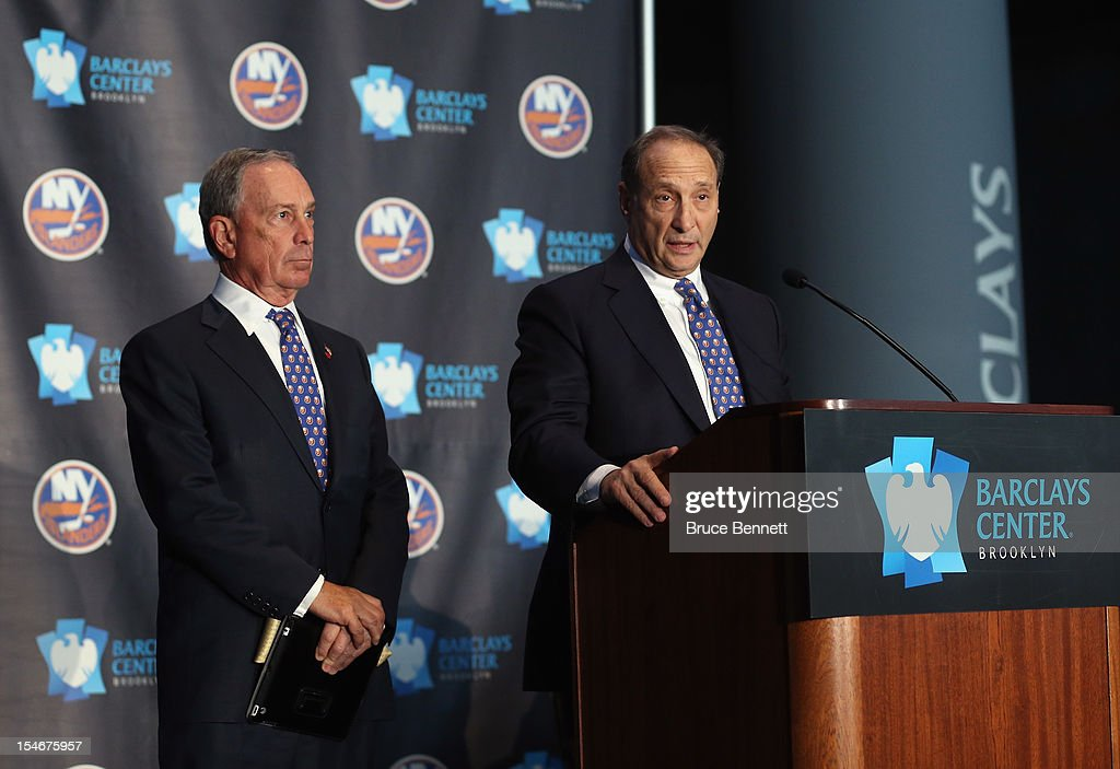 New York City Mayor Michael Bloomberg and Bruce Ratner, minority owner of the Brooklyn Nets, speak with the media at a press conference announcing the New York Islanders' move to Brooklyn in 2015 at the Barclays Center on October 24, 2012 in the Brooklyn borough of New York City.