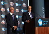 New York City Mayor Michael Bloomberg and Bruce Ratner minority owner of the Brooklyn Nets speak with the media at a press conference announcing the...