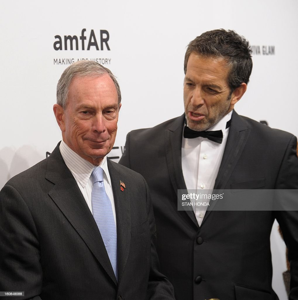 New York City Mayor Michael Bloomberg (L) and designer Kenneth Cole (R) arrive at the amfAR (The Foundation for AIDS Research) gala that kicks off the Mercedes-Benz Fashion Week February 6, 2013 in New York. AFP PHOTO/Stan HONDA