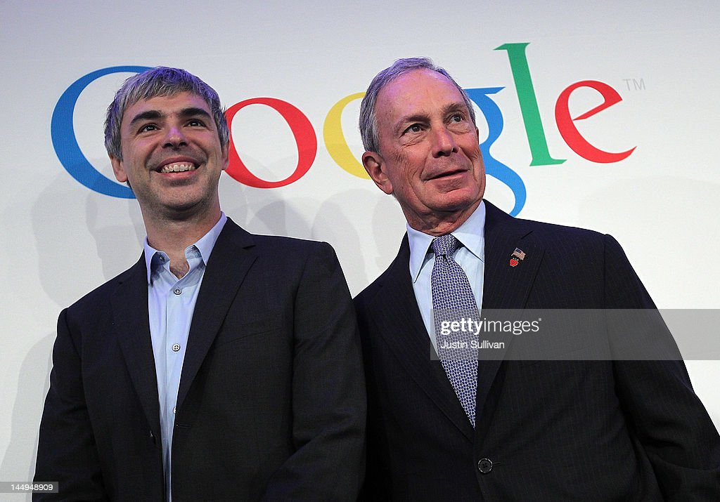 New York City Mayor <a gi-track='captionPersonalityLinkClicked' href=/galleries/search?phrase=Michael+Bloomberg&family=editorial&specificpeople=171685 ng-click='$event.stopPropagation()'>Michael Bloomberg</a> (R) and Google co-founder and CEO <a gi-track='captionPersonalityLinkClicked' href=/galleries/search?phrase=Larry+Page&family=editorial&specificpeople=753550 ng-click='$event.stopPropagation()'>Larry Page</a> pose for a photograph after a news conference at the Google offices on May 21, 2012 in New York City. Google announced today that it will allocate 22,000 square feet of space in its New York headquarters to CornellNYC Tech while the university completes its new campus on Roosevelt Island.