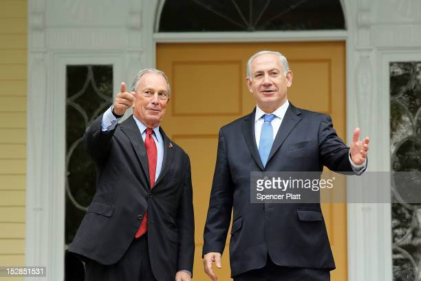 New York City Mayor Michael Bloomberg and Israeli Prime Minister Benjamin Netanyahu prepare to speak to the media before their meeting this afternoon...