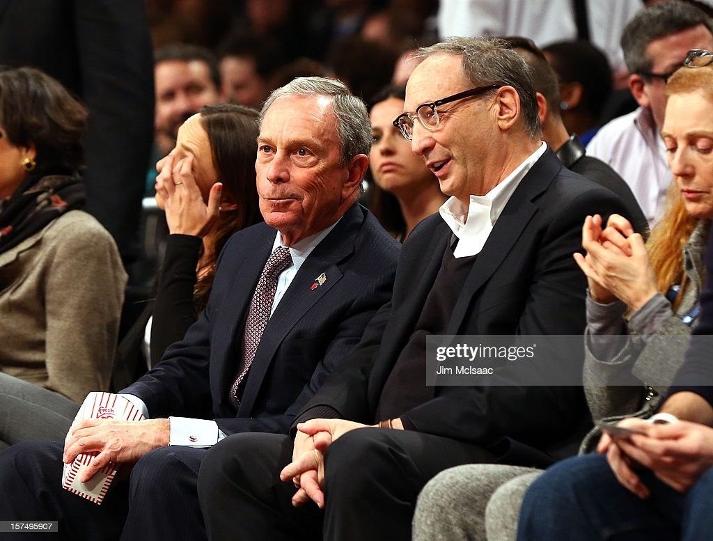 New York City mayor Michael Bloomberg (L) and minority owner Bruce Ratner of the Brooklyn Nets attend a game between the Nets and New York Knicks at Barclays Center on November 26, 2012 in the Brooklyn borough of New York City.The Nets defeated the Knicks 96-89 in overtime.
