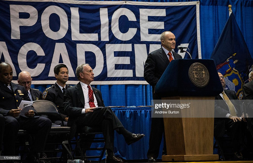 New York City mayor <a gi-track='captionPersonalityLinkClicked' href=/galleries/search?phrase=Michael+Bloomberg&family=editorial&specificpeople=171685 ng-click='$event.stopPropagation()'>Michael Bloomberg</a> (L) and New York city Police Commissioner Ray Kelly (R) attend the New York City Police Academy cadet graduation ceremony at the Barclays Center on July 2, 2013 in the Brooklyn Borough of New York City. The New York Police Department (NYPD) has more than 37,000 officers; 781 cadets graduated today.