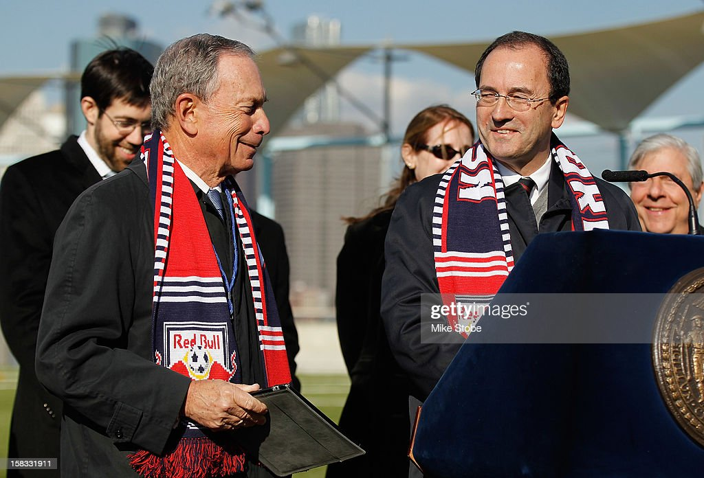 New York City Mayor Michael Bloomberg and New York Red Bulls General Manager Jerome de Bontin share a laugh during a ribboncutting ceremony at...