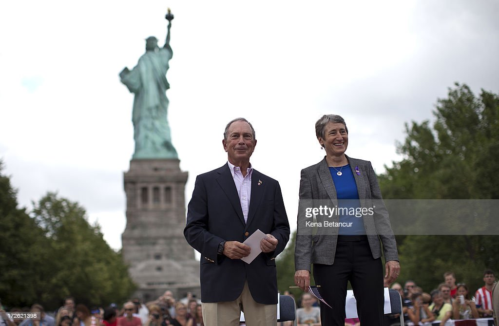New York City Mayor <a gi-track='captionPersonalityLinkClicked' href=/galleries/search?phrase=Michael+Bloomberg&family=editorial&specificpeople=171685 ng-click='$event.stopPropagation()'>Michael Bloomberg</a> and Secretary of the Interior Sally Jewell attend the reopening ceremony of the Statue of Liberty on the first day it is open to the public after Hurricane Sandy on July 4, 2013 on the Liberty Island in New York City. The statue was mostly spared by the storm, but the surrounding infrastructure was badly damaged.