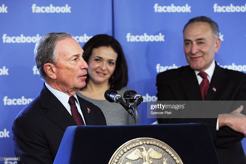 New York City Mayor <a gi-track='captionPersonalityLinkClicked' href=/galleries/search?phrase=Michael+Bloomberg&family=editorial&specificpeople=171685 ng-click='$event.stopPropagation()'>Michael Bloomberg</a> (L) and U.S. Sen. <a gi-track='captionPersonalityLinkClicked' href=/galleries/search?phrase=Charles+Schumer&family=editorial&specificpeople=171249 ng-click='$event.stopPropagation()'>Charles Schumer</a> (D-NY) (R) attend a news conference at New York's Facebook headquarters with <a gi-track='captionPersonalityLinkClicked' href=/galleries/search?phrase=Sheryl+Sandberg&family=editorial&specificpeople=5922850 ng-click='$event.stopPropagation()'>Sheryl Sandberg</a>, Facebook's chief operating officer (C) on December 2, 2011 in New York City. Bloomberg and Schumer announced that Facebook will be opening a center for engineers in New York City in 2012. Facebook, the world's largest social networking company, is expected to file for an IPO in April, and a public offering could reach a valuation of up to $100 billion and raise $10 billion.