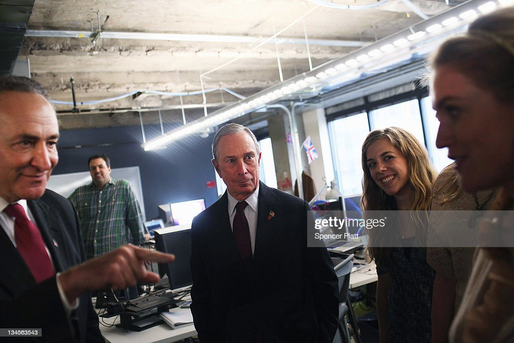 New York City Mayor <a gi-track='captionPersonalityLinkClicked' href=/galleries/search?phrase=Michael+Bloomberg&family=editorial&specificpeople=171685 ng-click='$event.stopPropagation()'>Michael Bloomberg</a> (C) and U.S. Sen. <a gi-track='captionPersonalityLinkClicked' href=/galleries/search?phrase=Charles+Schumer&family=editorial&specificpeople=171249 ng-click='$event.stopPropagation()'>Charles Schumer</a> (D-NY) (L) tour New York's Facebook headquarters on December 2, 2011 in New York City. Bloomberg and Schumer announced that Facebook will be opening a center for engineers in New York City in 2012. Facebook, the world's largest social networking company, is expected to file for an IPO in April, and a public offering could reach a valuation of up to $100 billion and raise $10 billion.
