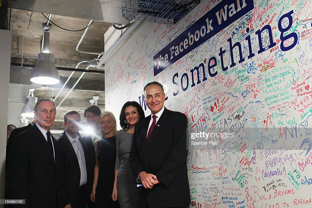 New York City Mayor <a gi-track='captionPersonalityLinkClicked' href=/galleries/search?phrase=Michael+Bloomberg&family=editorial&specificpeople=171685 ng-click='$event.stopPropagation()'>Michael Bloomberg</a> (L) and U.S. Sen. Charles Schumer (D-NY) (R) tour New York's Facebook headquarters with <a gi-track='captionPersonalityLinkClicked' href=/galleries/search?phrase=Sheryl+Sandberg&family=editorial&specificpeople=5922850 ng-click='$event.stopPropagation()'>Sheryl Sandberg</a> (2ndR), Facebook's chief operating officer on December 2, 2011 in New York City. Bloomberg and Schumer announced that Facebook will be opening a center for engineers in New York City in 2012. Facebook, the world's largest social networking company, is expected to file for an IPO in April, and a public offering could reach a valuation of up to $100 billion and raise $10 billion.