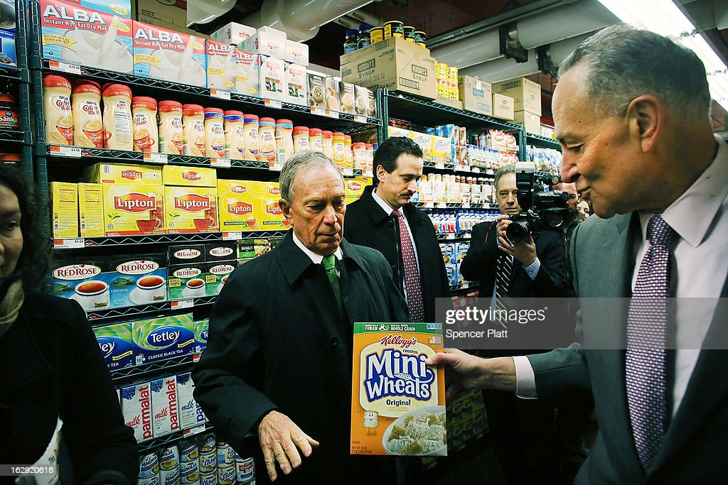 New York City Mayor Michael Bloomberg (L) and U.S. Sen. Chuck Schumer (D-NY) shop in the newly re-opened Fairway Market on the waterfront in Red Hook on March 1, 2013 in the Brooklyn borough of New York City. Fairway, which quickly became a popular shopping destination and an anchor in the struggling community of Red Hook, was closed following severe flooding during Hurricane Sandy on October 29, 2012. Like the rest of Red Hook, Fairway has struggled to quickly re-open in a neighborhood that lost dozens of businesses during the storm. The re-opening, which included a ceremony and ribbon cutting featuring Miss America and Mayor Michael Bloomberg, is being trumpeted as the Red Hook neighborhood's official comeback since the storm.