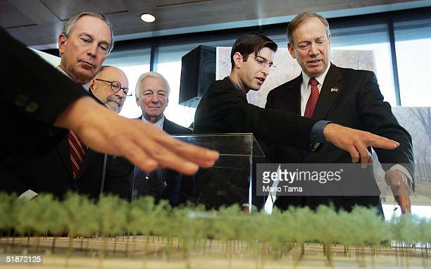 New York City Mayor Michael Bloomberg architect Peter Walker LMDC Chairman John Whitehead architect Michael Arad and New York Governor George Pataki...