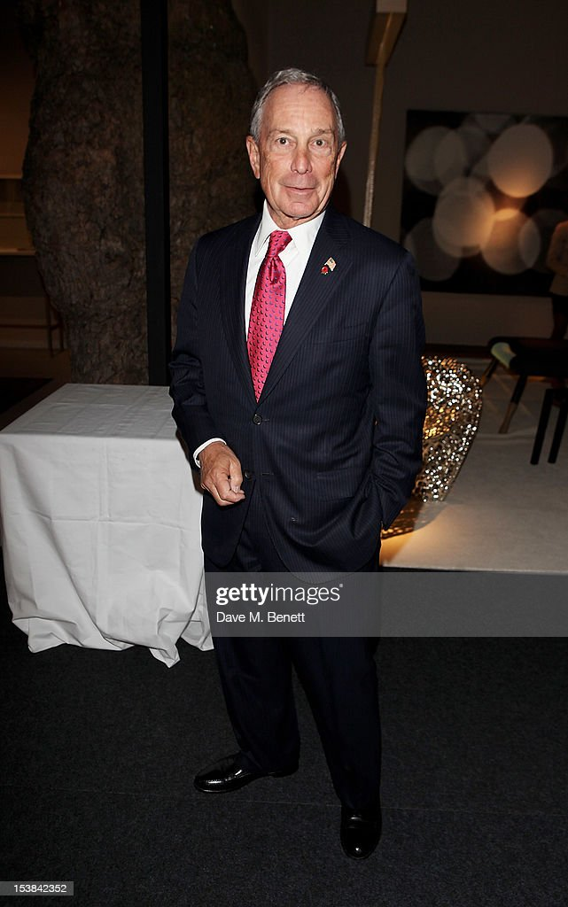 New York City Mayor <a gi-track='captionPersonalityLinkClicked' href=/galleries/search?phrase=Michael+Bloomberg&family=editorial&specificpeople=171685 ng-click='$event.stopPropagation()'>Michael Bloomberg</a> attends a private preview of the PAD London 2012 Pavilion of Design in Berkeley Square Gardens on October 9, 2012 in London, England.
