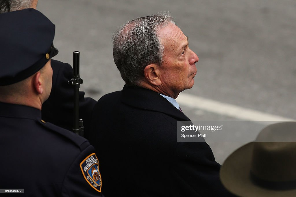 New York City Mayor Michael Bloomberg attends funeral services for former New York City Mayor Ed Koch at Manhattan's Temple Emanu-El on February 4, 2013 in New York City.The iconic former New York mayor passed away on February 1, 2013 in New York City at age 88. Ed Koch was New York's 105th mayor and ran the city from 1978-89. He was often outspoken and combative and has been credited with rescuing the city from near-financial ruin during a three-term City Hall run.