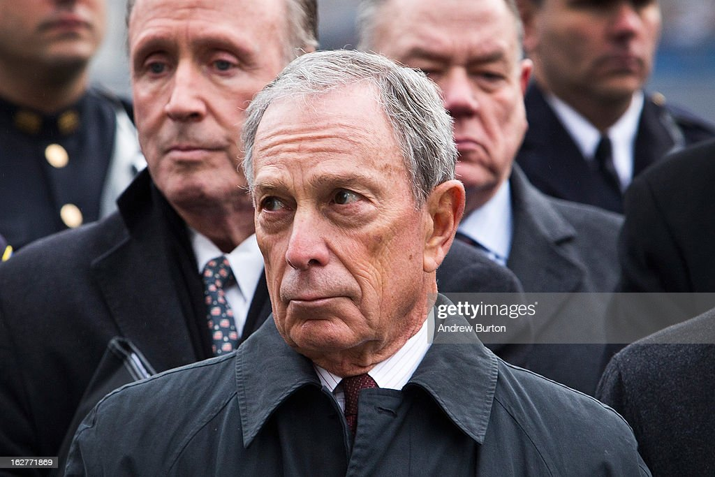 New York City Mayor <a gi-track='captionPersonalityLinkClicked' href=/galleries/search?phrase=Michael+Bloomberg&family=editorial&specificpeople=171685 ng-click='$event.stopPropagation()'>Michael Bloomberg</a> attends the 20th Anniversary Ceremony for the 1993 World Trade Center bombing at Ground Zero on February 26, 2013 in New York City. The attack, which utilized a car bomb and hit the north tower, killed six people.