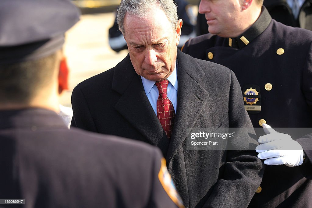 New York City Mayor Michael Bloomberg attends the funeral of New York City Police officer Peter Figoski who was killed last week while responding to...