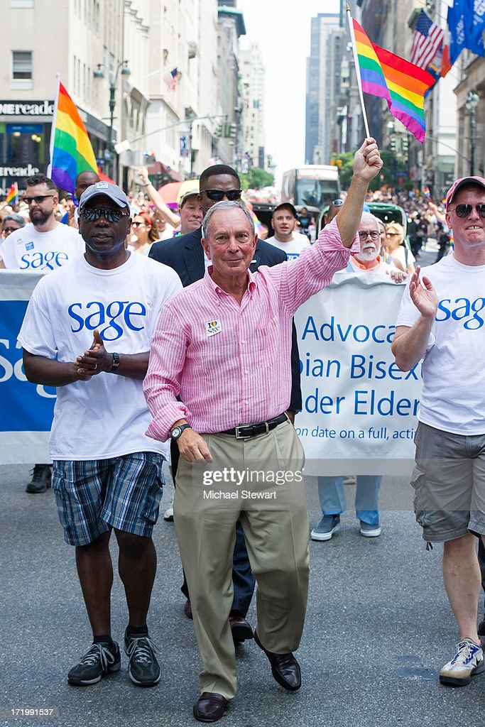 New York City Mayor <a gi-track='captionPersonalityLinkClicked' href=/galleries/search?phrase=Michael+Bloomberg&family=editorial&specificpeople=171685 ng-click='$event.stopPropagation()'>Michael Bloomberg</a> attends The March during NYC Pride 2013 on June 30, 2013 in New York City.
