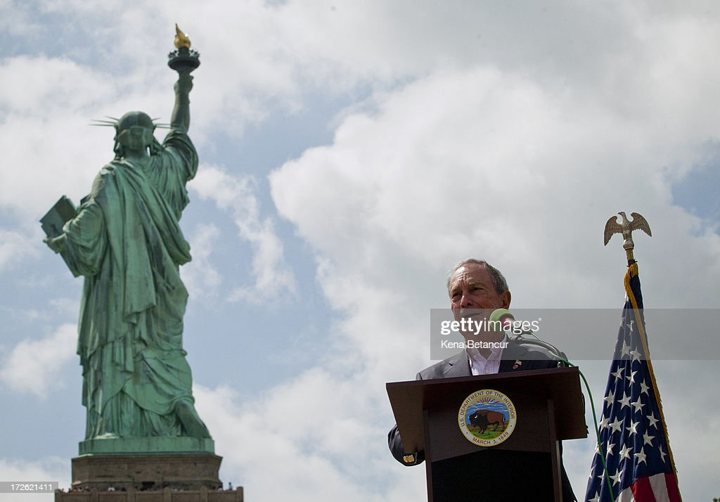 New York City Mayor <a gi-track='captionPersonalityLinkClicked' href=/galleries/search?phrase=Michael+Bloomberg&family=editorial&specificpeople=171685 ng-click='$event.stopPropagation()'>Michael Bloomberg</a> attends the reopening ceremony of the Statue of Liberty on the first day it is open to the public after Hurricane Sandy on July 4, 2013 on the Liberty Island in New York City. The statue was mostly spared by the storm, but the surrounding infrastructure was badly damaged.