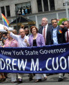 New York City Mayor Michael Bloomberg City Council Speaker Christine C Quinn New York and Governor Andrew Cuomo march during the 2011 NYC LGBT Pride...