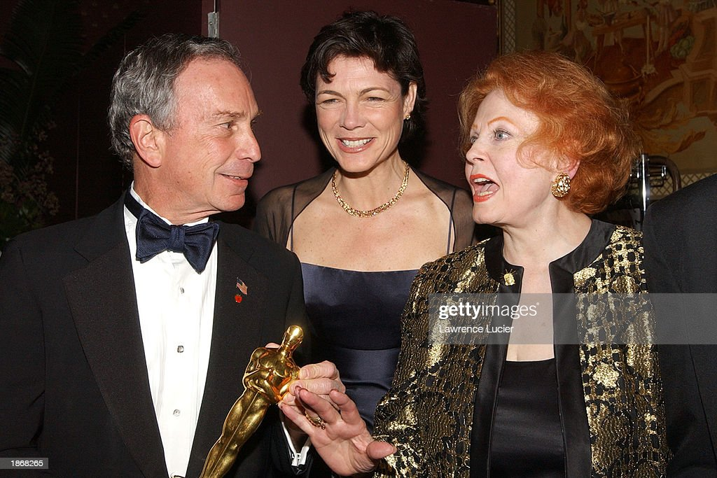 New York City Mayor Michael Bloomberg, his girlfriend Diana Taylor and actress Arlene Dahl arrive at the official Academy of Motion Picture Arts & Sciences Oscar Night Viewing Party at Le Cirque 2000 restaurant March 23, 2003 in New York City.