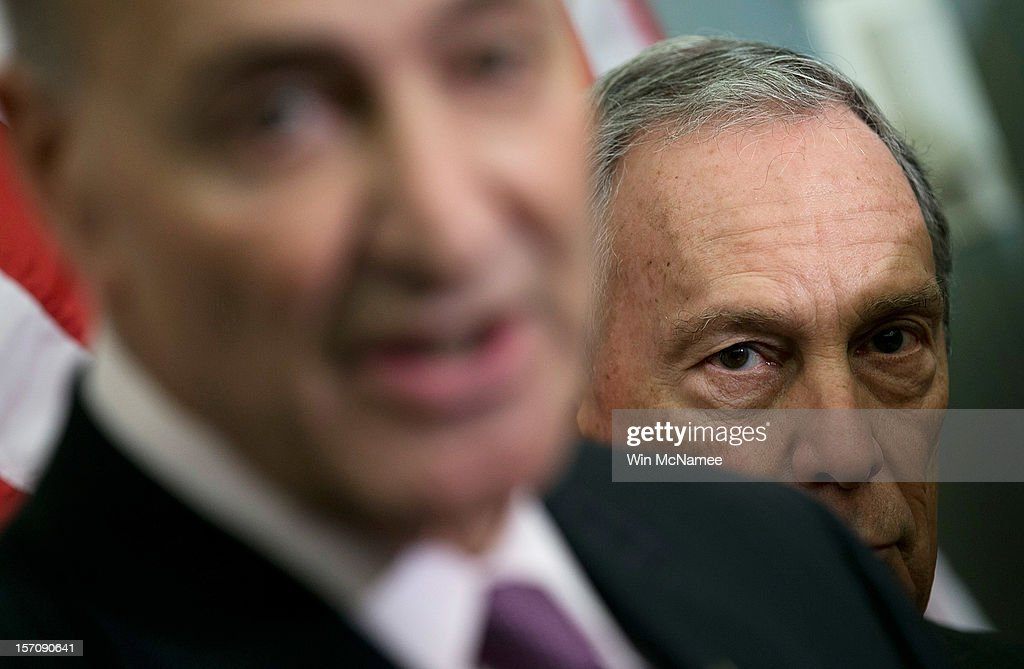 New York City Mayor <a gi-track='captionPersonalityLinkClicked' href=/galleries/search?phrase=Michael+Bloomberg&family=editorial&specificpeople=171685 ng-click='$event.stopPropagation()'>Michael Bloomberg</a> (R) holds a press conference with U.S. U.S. Sen. Charles Schumer (D-NY) (L) at the U.S. Capitol November 28, 2012 in Washington, DC. Bloomberg and the two senators from New York met to discuss New York City's Hurricane Sandy Federal Aid Request.
