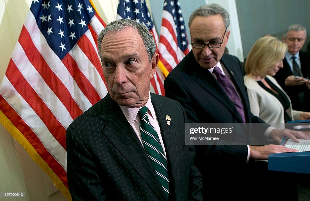 New York City Mayor <a gi-track='captionPersonalityLinkClicked' href=/galleries/search?phrase=Michael+Bloomberg&family=editorial&specificpeople=171685 ng-click='$event.stopPropagation()'>Michael Bloomberg</a> (L) holds a press conference with U.S. Sen. <a gi-track='captionPersonalityLinkClicked' href=/galleries/search?phrase=Charles+Schumer&family=editorial&specificpeople=171249 ng-click='$event.stopPropagation()'>Charles Schumer</a> (D-NY) (C) and U.S. Sen. <a gi-track='captionPersonalityLinkClicked' href=/galleries/search?phrase=Kirsten+Gillibrand&family=editorial&specificpeople=4099377 ng-click='$event.stopPropagation()'>Kirsten Gillibrand</a> (D-NY) (R) at the U.S. Capitol November 28, 2012 in Washington, DC. Bloomberg and the two senators from New York met to discuss New York City's Hurricane Sandy Federal Aid Request.